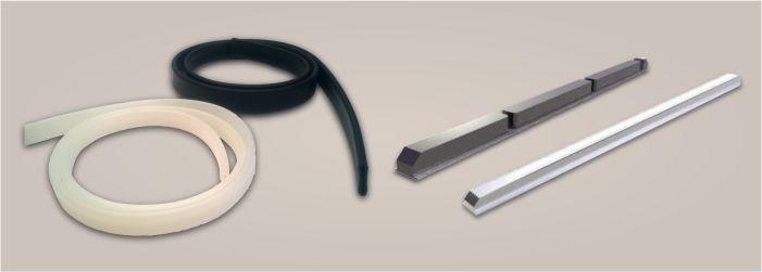 Gumové a silikonové duše, gumové a hliníkové upínací pásy